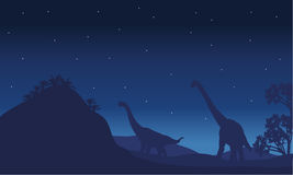 Silhouette of two brachiosaurus with star Royalty Free Stock Photos
