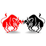 Silhouette of two bulls fighting red and black, stock market. Silhouette of two bulls fighting red and black, stock market metaphor, on white background.vector Royalty Free Stock Image