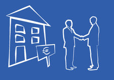 Silhouette of two businessmen shaking hands in front of house Stock Photography