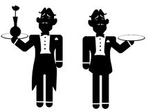 Silhouette of two butlers. Royalty Free Stock Photography