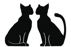 Silhouette of two cats. Silhouette of two cats sitting near each other. Animals isolated on white background vector illustration