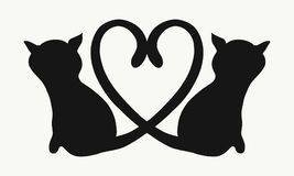 Silhouette of two cats. With tails forming a heart Stock Image