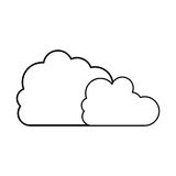 Silhouette two cloud in cumulus shape. Vector illustration Stock Images
