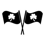 Silhouette two clover flag ornate st patrick day Stock Photo