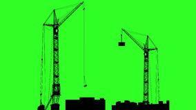 Silhouette of two cranes working on the building. Green screen background. 4k animation stock video footage