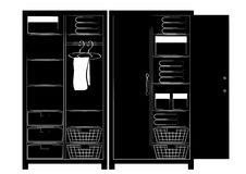 Silhouette of two cupboards Royalty Free Stock Photography