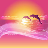 Silhouette of two dolphins at sunset. Abstract background with space for your text. Eps10 Stock Images