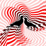 Silhouette of two doves. Design colorful striped t. Wisting lines textured background. Vector-art illustration. No gradient Royalty Free Stock Image
