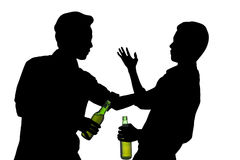 Silhouette two drunk man fights Royalty Free Stock Photo