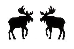 Silhouette of two elks Royalty Free Stock Photos