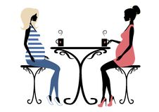 Silhouette of two fashionable pregnant women. Vector illustration Stock Photo