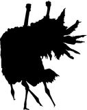 Silhouette of two fighting ostriches. Digitally hand drawn vector silhouette, black isolated on white background Stock Photo