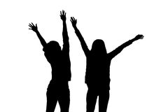 Silhouette of two girl Stock Image