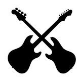 Silhouette of two guitars. Royalty Free Stock Photo