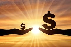 Silhouette of two hands, in one hand a large symbol of Dollar. In the second hand is a small symbol of the dollar vector illustration