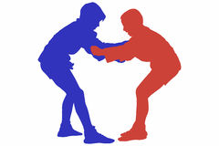 Silhouette Of Two Juvenile Male Sambo Fighters. Silhouette of two juvenile male Sambo combatants in interlocking grip during a competition. Artwork isolated on Stock Photo
