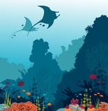 Coral reef, fish, mantas and underwater sea. Silhouette of two mantas, coral reef and fishes on a blue sea background. Underwater marine life. Vector Stock Photography