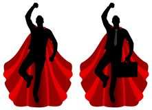 Silhouette of two men, superheroes who are flying Royalty Free Stock Images