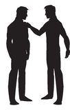 Silhouette of two men talking, illustration. Silhouette of two men talking, black, vector illustration Royalty Free Stock Photography