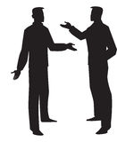 Silhouette of two men talking, illustration. Silhouette of two men talking, black, vector illustration Stock Photography