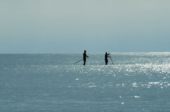 Silhouette of Two Paddle Boarders Royalty Free Stock Photo
