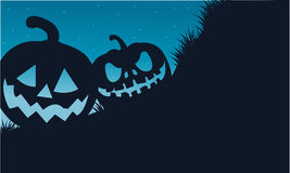 Silhouette of two pumpkins Halloween. Scary at night vector illustration