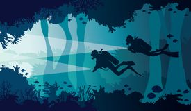 Scuba diver, lantern, coral reef, underwater cave and sea. Silhouette of two scuba divers with lantern, coral reef with school of fish and underwater cave on a Stock Photography
