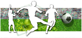 Soccer players. Silhouette of two soccer players, a ball in black and white and parts of a football pitch Royalty Free Stock Images