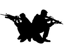 Silhouette of two soldiers Stock Image