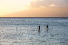 Silhouette of two standup paddlers on Maui, Hawaii Royalty Free Stock Image