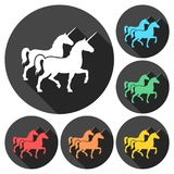 Silhouette of Two Unicorn Horse icons set with long shadow. Vector icon Royalty Free Stock Image