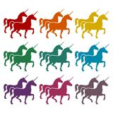 Silhouette of Two Unicorn Horse icons set. Vector icon Stock Photos