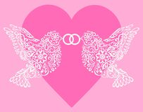 Silhouette two white birds that hold the ring against pink hearts Royalty Free Stock Photos