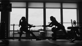 Silhouette of two womans pulling a rope in a sport fitness gym stock footage