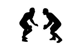 Silhouette of Two Wrestlers Royalty Free Stock Image