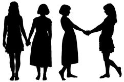 Silhouette of two young slender women Stock Image
