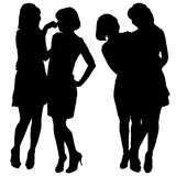Silhouette of two young slender women Royalty Free Stock Image