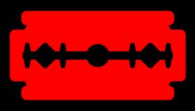 Red Razor Blade. Silhouette of a typical razor blade in red over black vector illustration