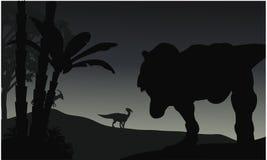 Silhouette of Tyranosaurus and Parasaurolophus Stock Images