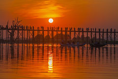 Silhouette of U bein bridge at sunset Stock Photo