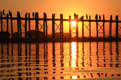 Silhouette of U bein bridge at sunset Stock Image