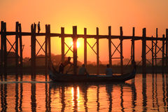 Silhouette of U bein bridge at sunset Royalty Free Stock Image