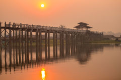Silhouette of U Bein bridge at sunset Stock Images