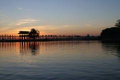 Silhouette of U bein's Bridge,. U bein's, Bridge, Amarapura, Mandalay, Myanmar, asia Royalty Free Stock Photo