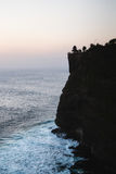 Silhouette of Uluwatu temple at sunset in bali Royalty Free Stock Image