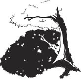 Silhouette under tree. A silhouette of a boy sitting on a branch of a tree with stars spreading around royalty free illustration