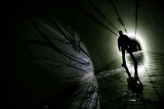 Silhouette in a underground bunker Royalty Free Stock Photos