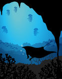 Silhouette underwater scene with stingray Stock Photo