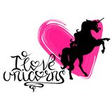 Silhouette of a unicorn against a background of hearts and lettering vector illustration
