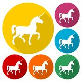 Silhouette of Unicorn Horse icons set with long shadow. Vector icon Stock Image
